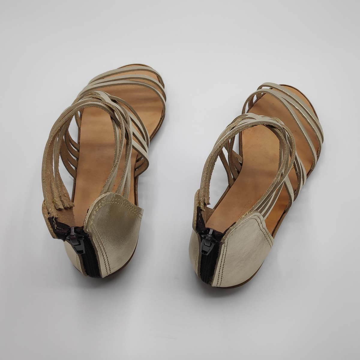 Gold Zip Back Sandals for women | Down Town | Pagonis Greek Sandals