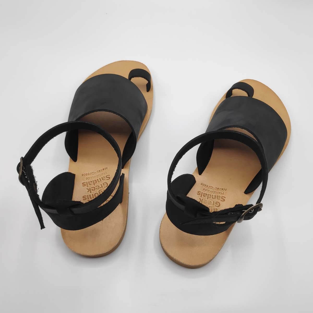 Black Leather Sandals with ankle strap