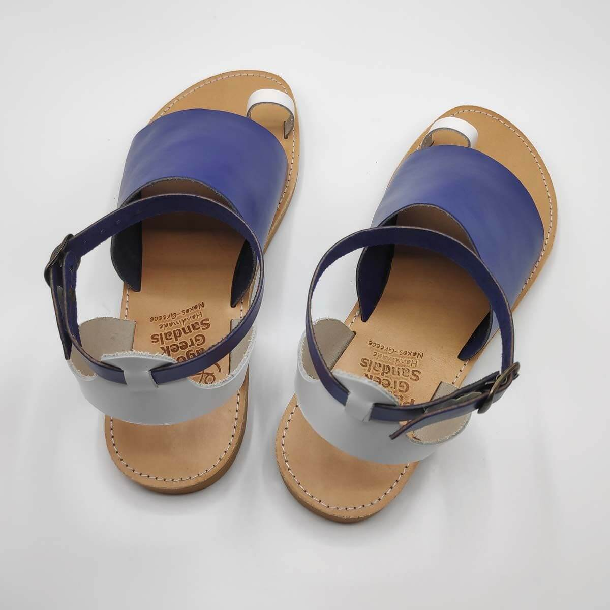 Blue Leather Sandals with ankle strap