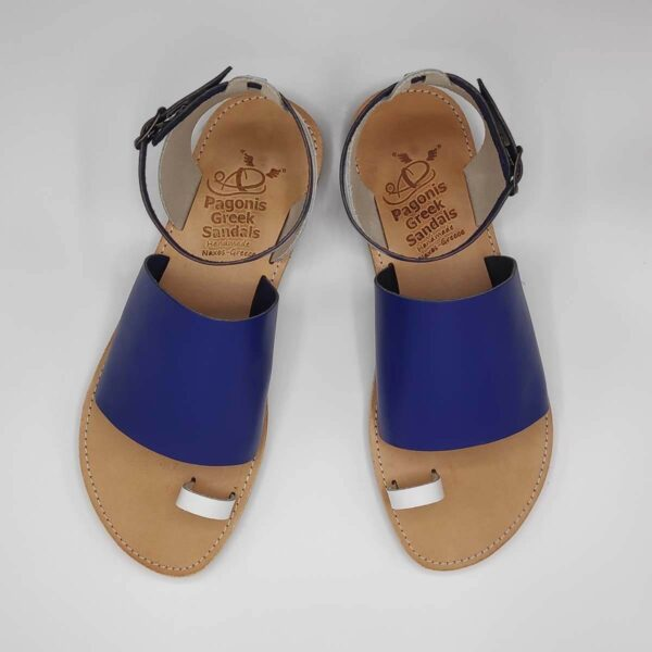 Blue Leather Sandals with ankle strap | Pagonis Greek Sandals