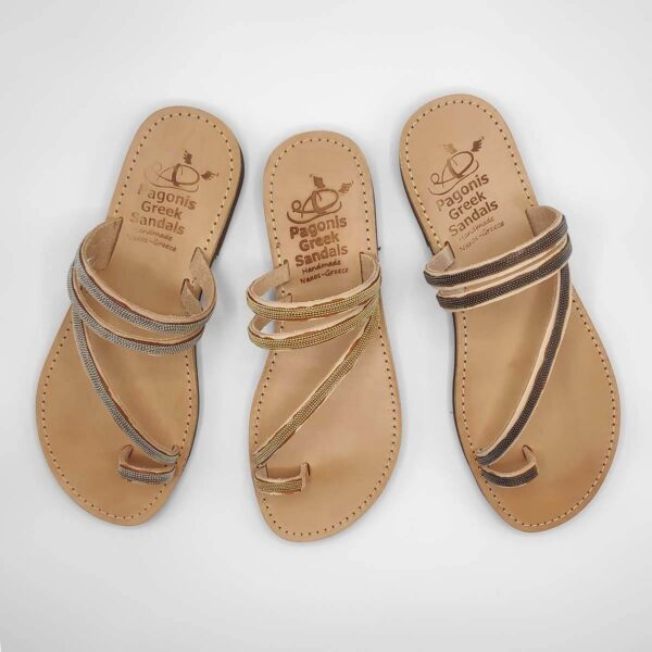 Embellished Slides | Comi Kiani | Leather Sandals | Pagonis Greek Sandals