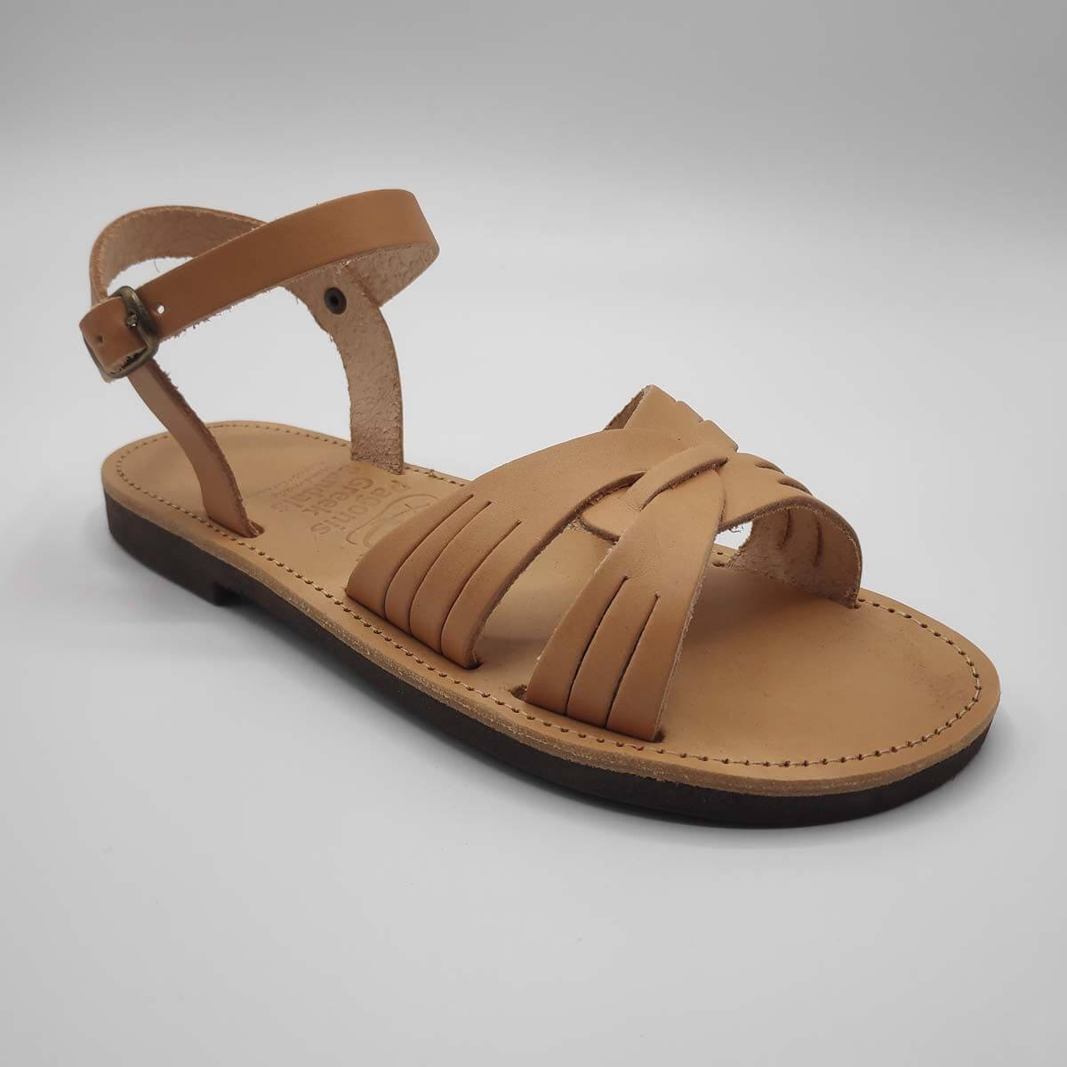 Fiodes leather sandals with side cuts | Pagonis Greek Sandals
