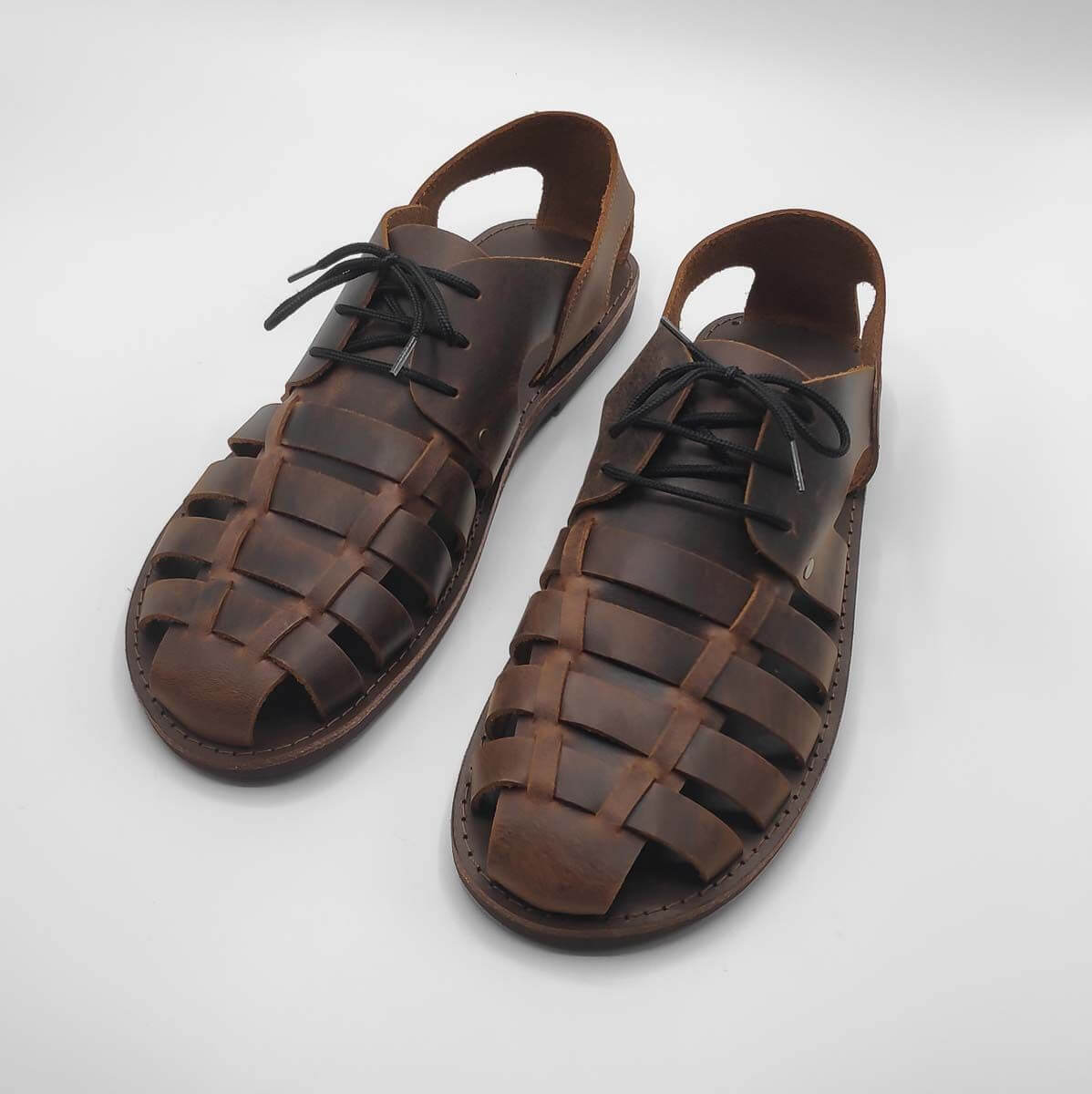 AMMOS Mens leather dress sandals | Pagonis Greek Sandals