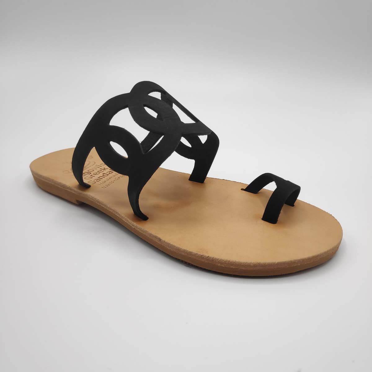 Firo geometric black leather slides | Pagonis Greek Sandals