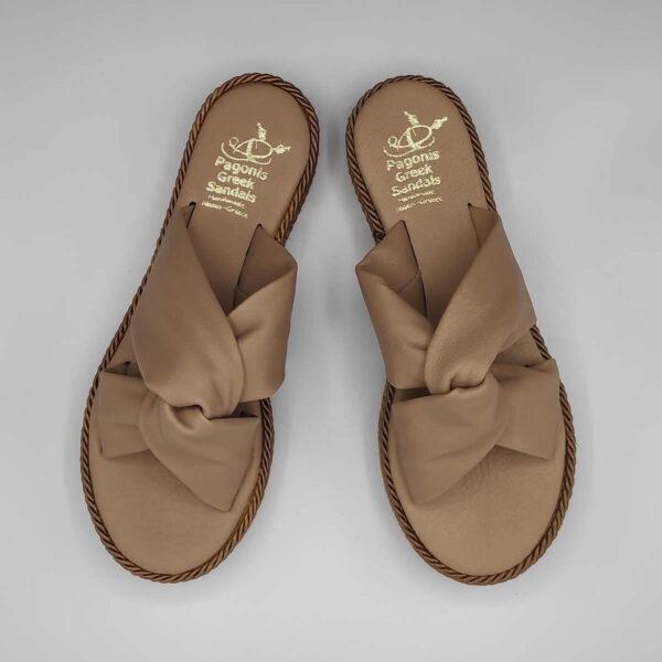 Bow platform sandals soft leather   Pagonis Greek Sandals