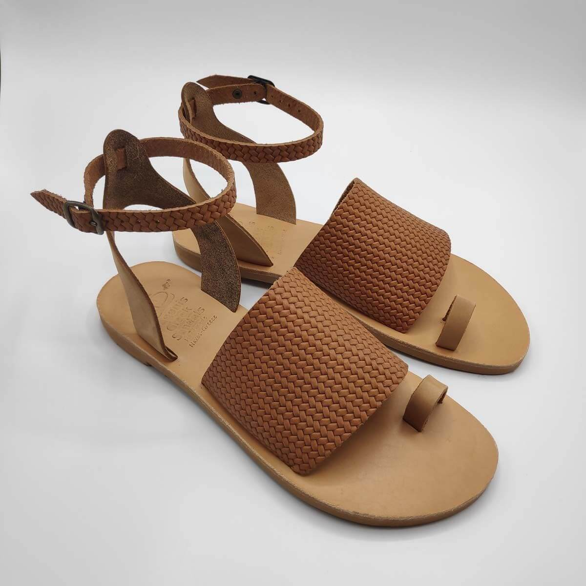 Brown Leather Sandals with ankle strap