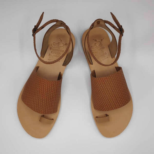Brown Leather Sandals with ankle strap | Pagonis Greek Sandals