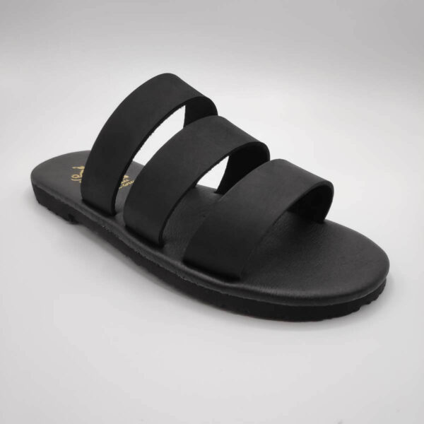 Three Straps Mens Leather Sandals Black Comfort Sandals side view single