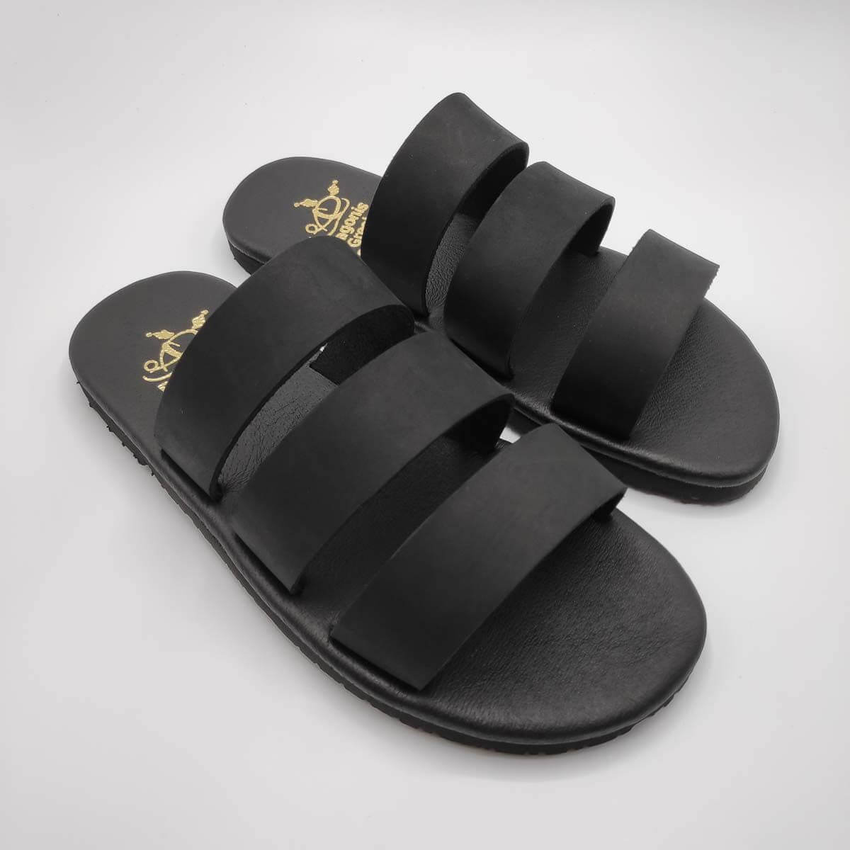 Three Straps Mens Leather Sandals Black Comfort Sandals side view 2