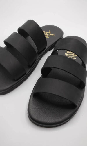 Three Straps Mens Leather Sandals Black Comfort Sandals side view