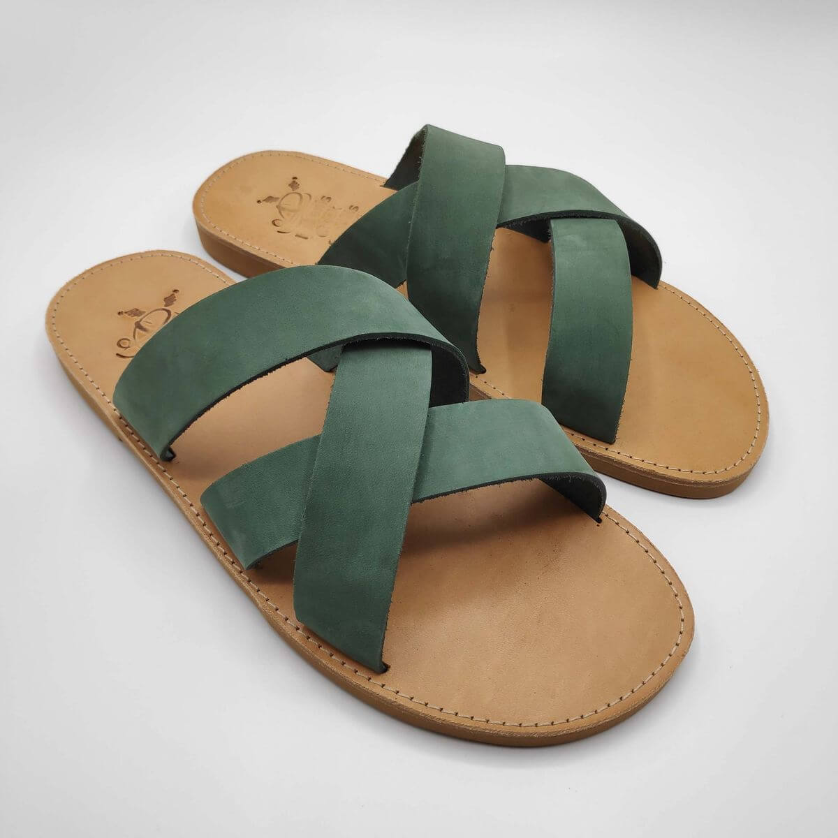 leather sandals for men green three straps criss cross side view - Avithos Men