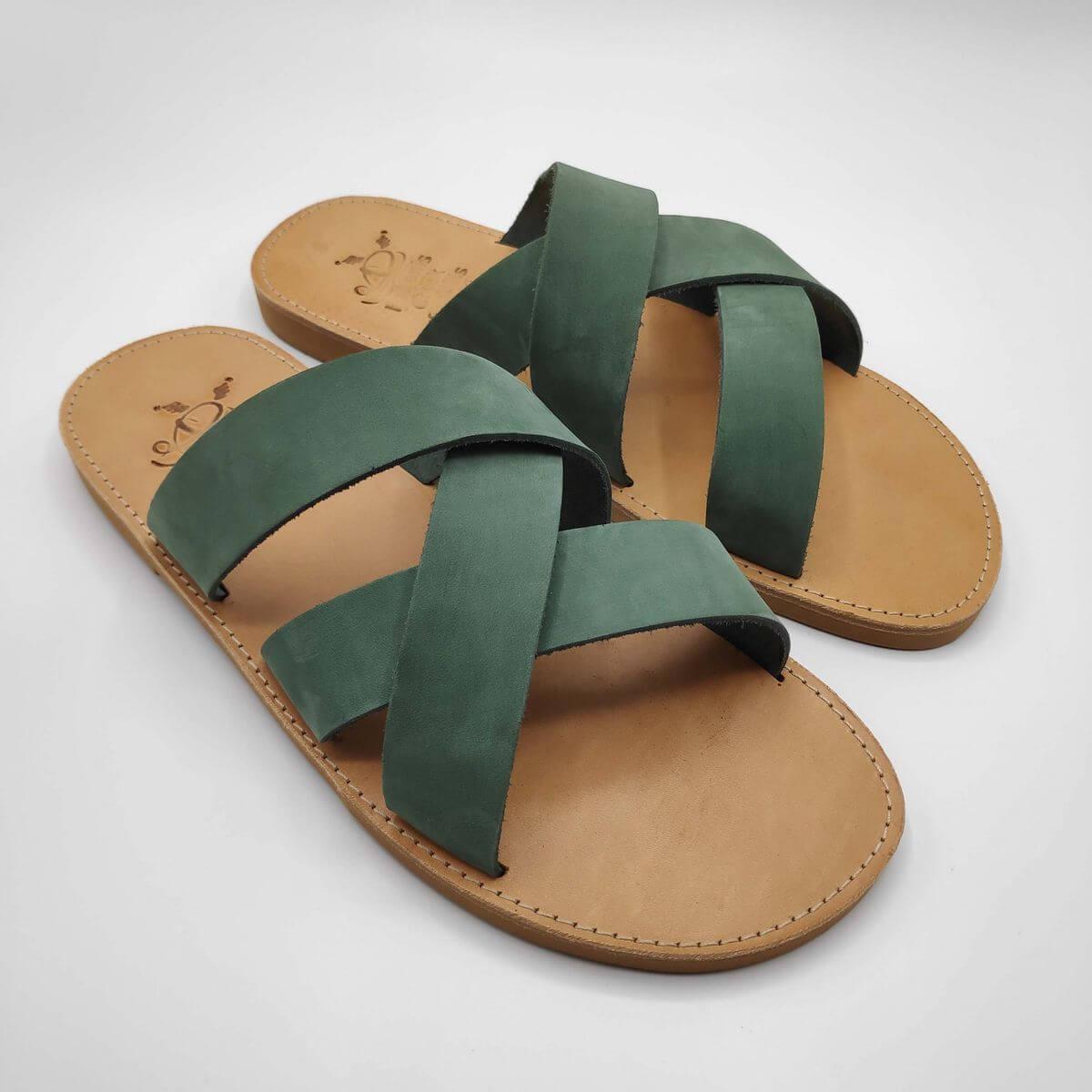 leather sandals for men green three straps criss cross side view - Avithos Men