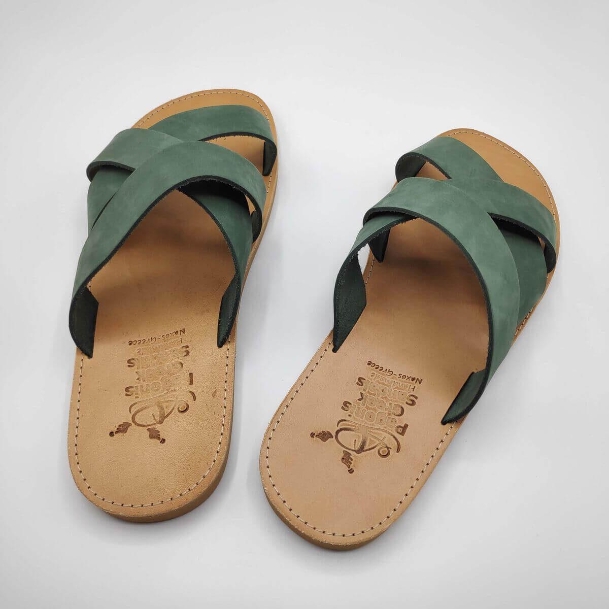leather sandals for men green three straps criss cross back view - Avithos Men