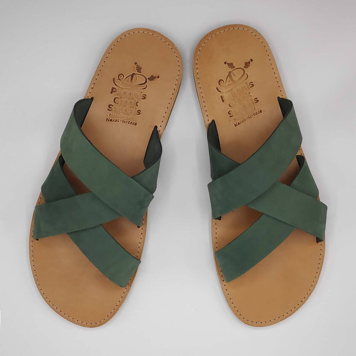 leather sandals for men green three straps criss cross top view - Avithos Men