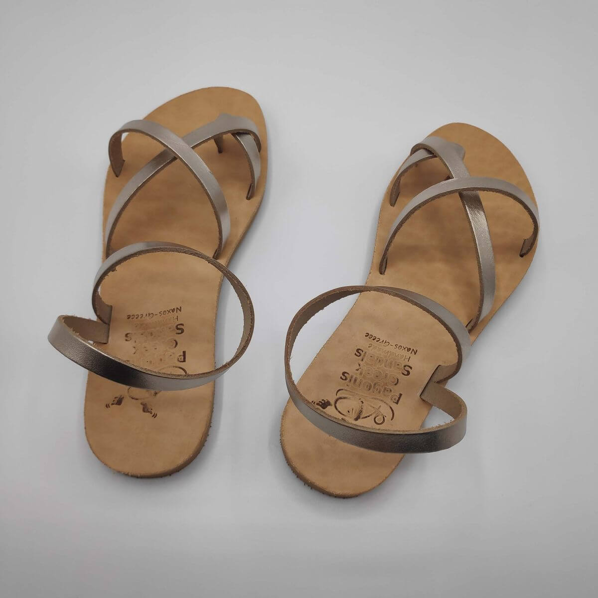 Gold Leather Strappy Sandals with Toe Straps | Antiparos | Pagonis Greek Sandals