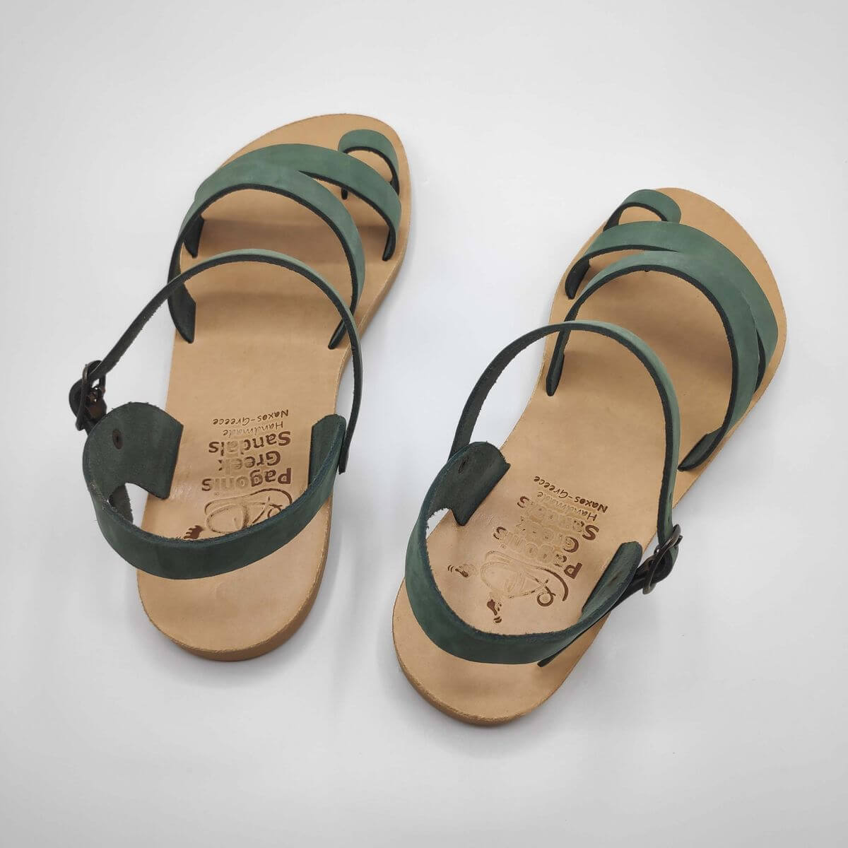Green nubuck leather dressy sandals with two straps, toe ring and high ankle strap, back view