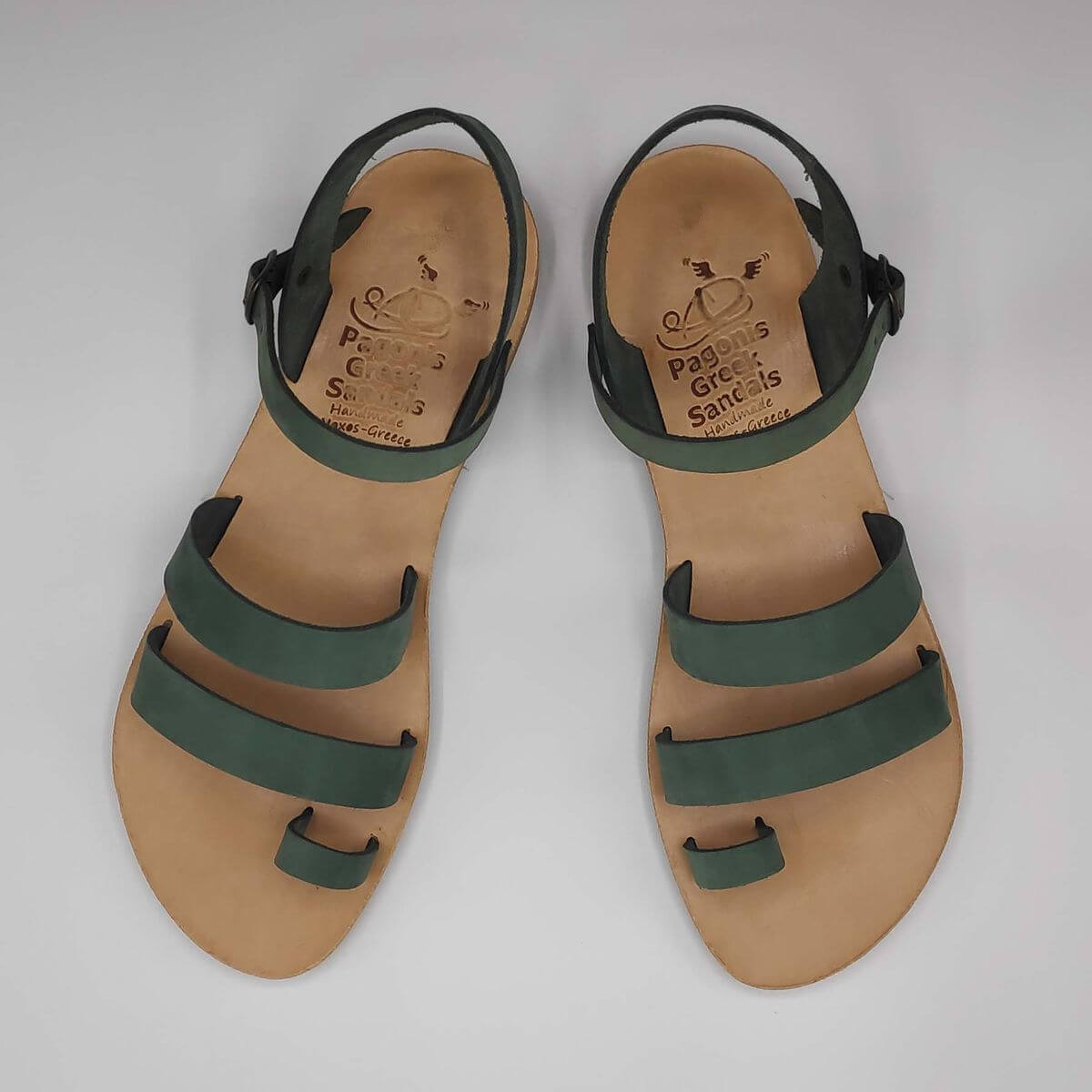 Green nubuck leather dressy sandals with two straps, toe ring and high ankle strap, top view