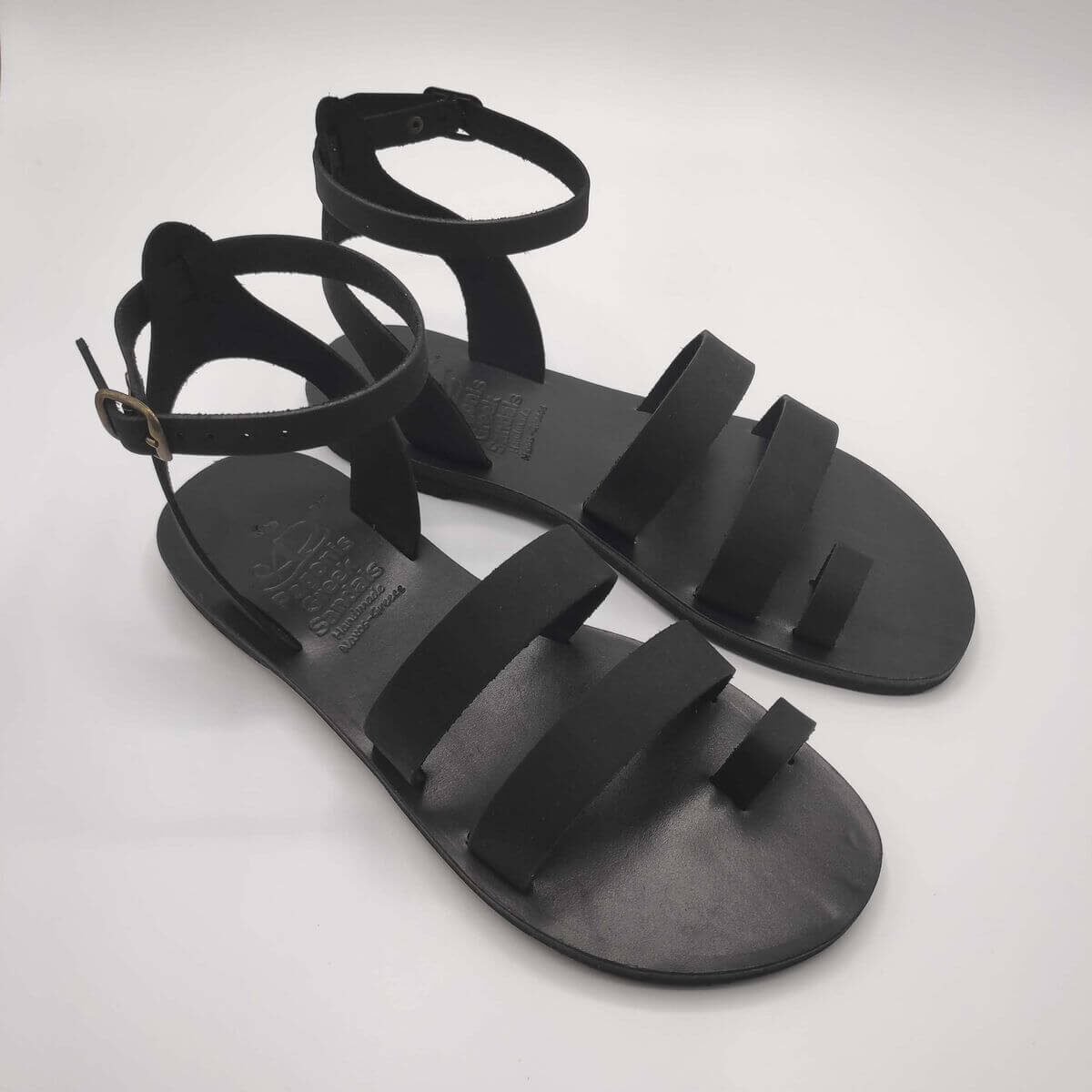 Total Black in Nubuck leather dressy sandals with two straps, toe ring and high ankle strap, side view
