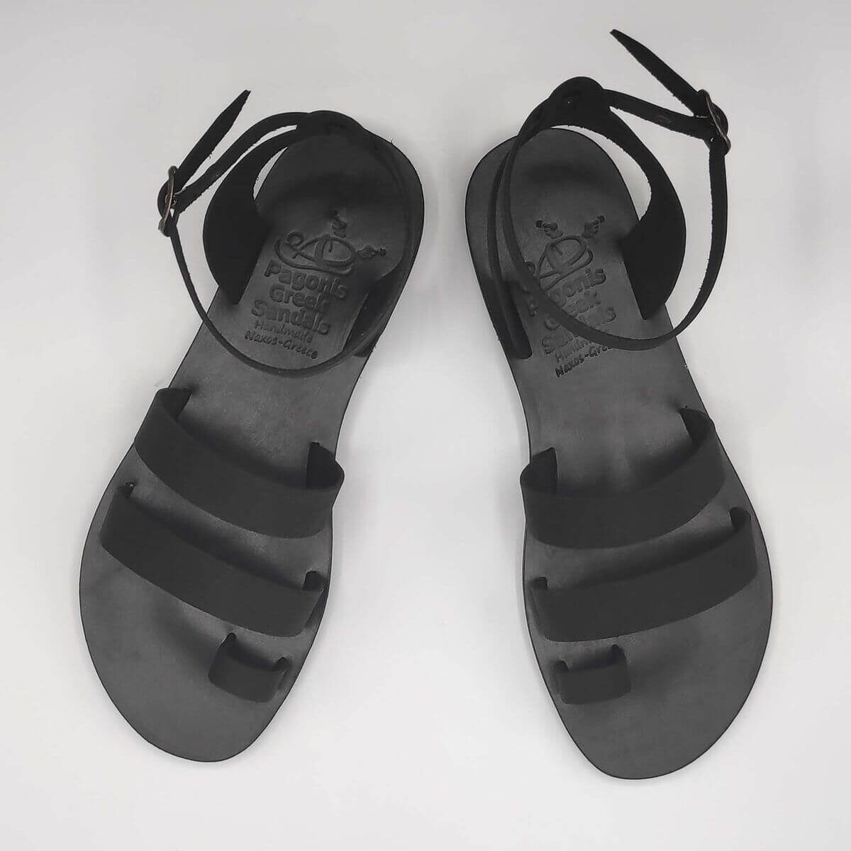 Black Nubuck leather dressy sandals with two straps, toe ring and high ankle strap, top view