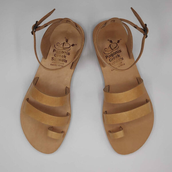 Natural Tan leather dressy sandals with two straps, toe ring and high ankle strap, top view