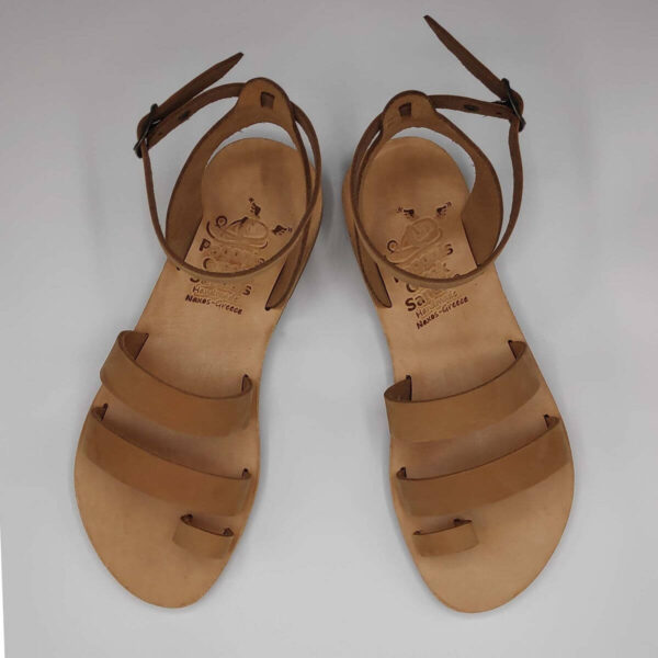 nude nubuck leather dressy sandals with two straps, toe ring and high ankle strap, top view