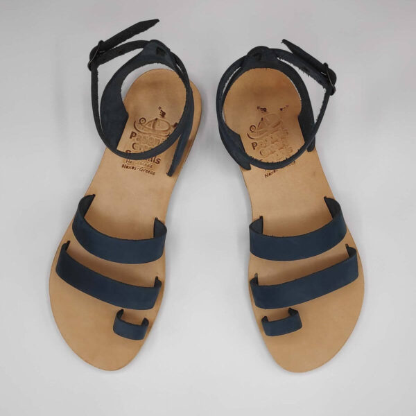 Blue nubuck leather dressy sandals with two straps, toe ring and high ankle strap, top view