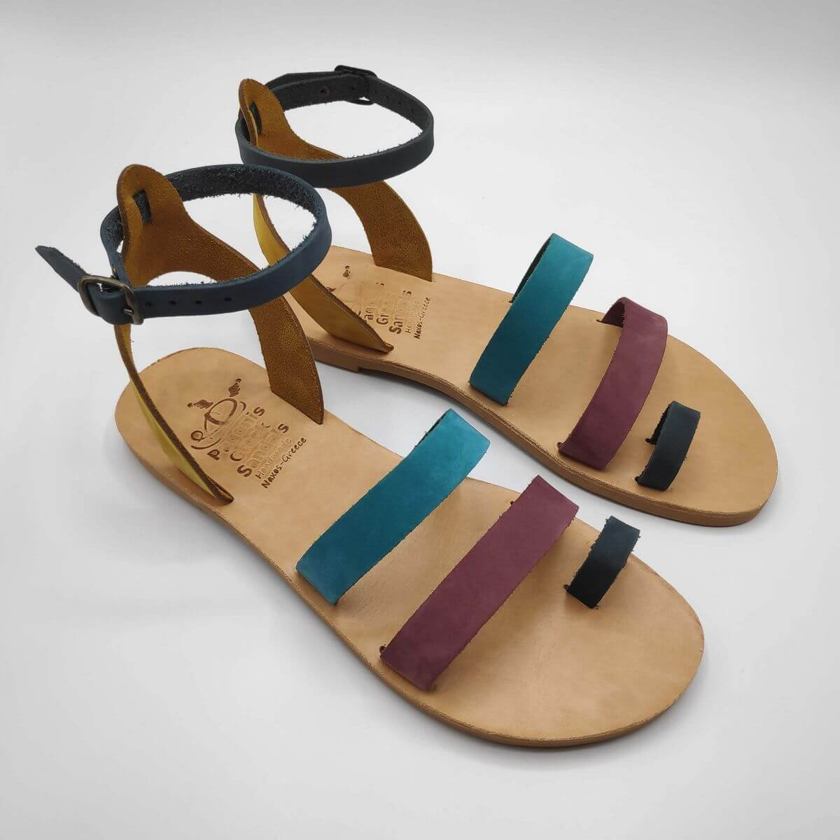 multi-colour nubuck leather dressy sandals with two straps, toe ring and high ankle strap, side view