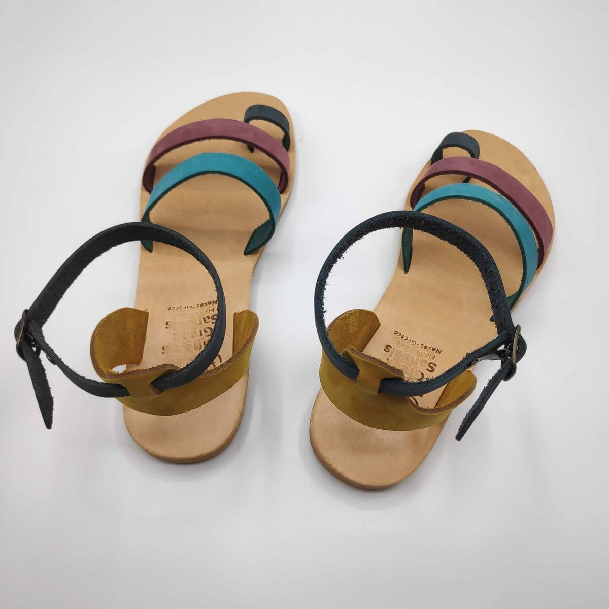 multi-colour nubuck leather dressy sandals with two straps, toe ring and high ankle strap, back view