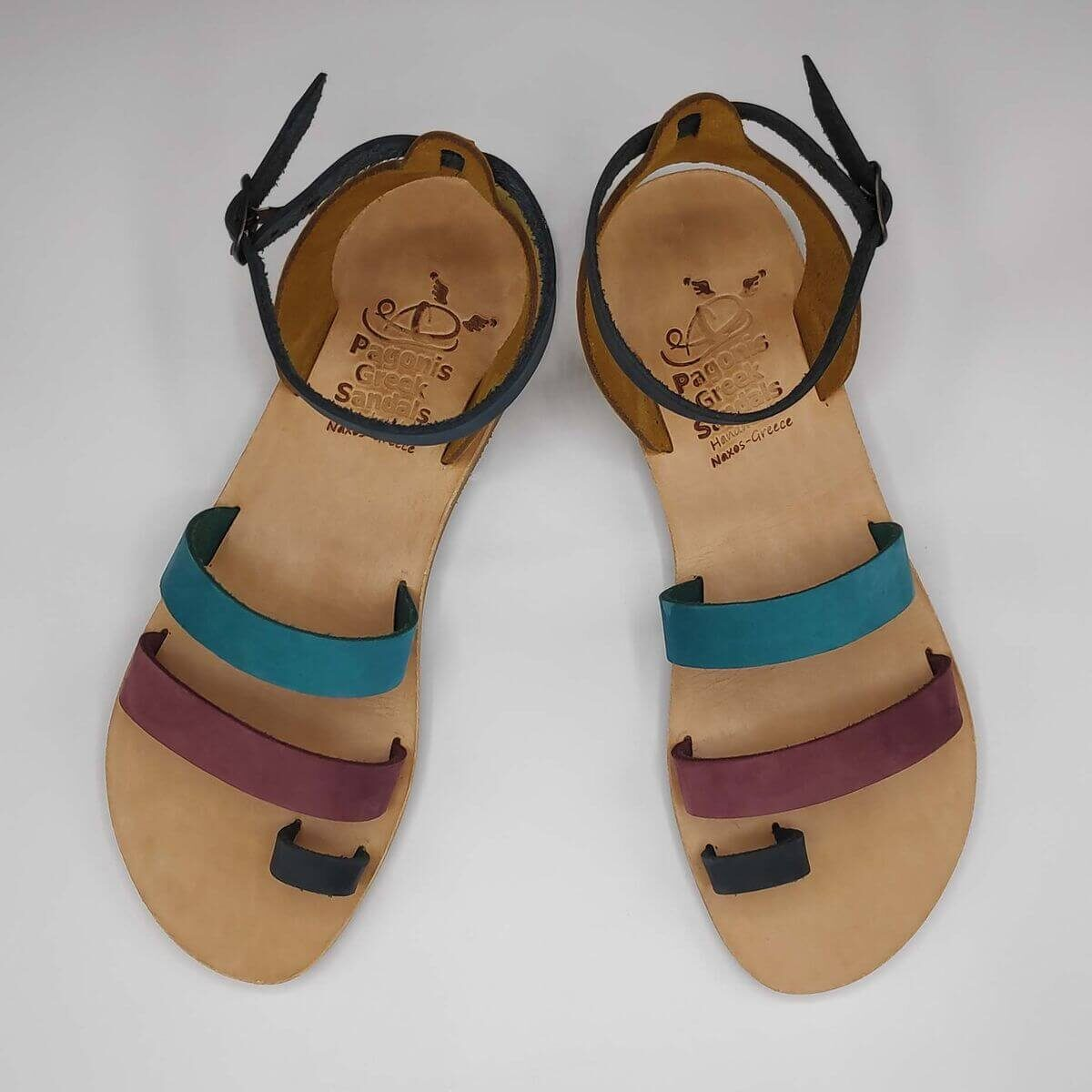 multi-colour nubuck leather dressy sandals with two straps, toe ring and high ankle strap, top view